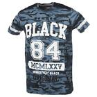 Tee shirt manches courtes Rivaldi black Menfi navy yellow mc tee Bleu 58571 - Ne