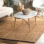 nuLOOM Contemporary Hand Woven Ashli Solid Jute Natural Area Rug