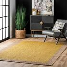 nuLOOM Contemporary Modern Simple Bordered Natural Jute Area Rug in Yellow