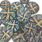 Coconut shell Vintage retro union jack buttons blue/ white 2 holes per 3 buttons
