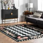 nuLOOM Hand Made Country and Floral Rooster Wool Area Rug in Black White