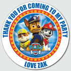 Personalised Custom Shiny Gloss PAW Patrol Birthday Stickers Party Bag Thank You