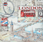 London Fabric Cotton Material Blue Red The Eye The Capital Vintage Sold by Metre