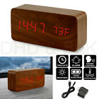Modern Wooden Alarm Clock Wood USB/AAA Digital LED Calendar Thermometer Bedroom