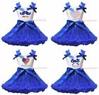 USA Flag Heart 4th July America Bow White Cotton Top Blue Skirt Girl Outfit 1-8Y