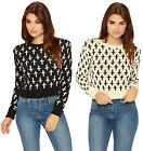 Womens Cross Print Knitted Jumper Ladies Cropped Long Sleeve Round Neck 8-14