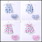 Infant Baby Girl Summer Pageant Clothes Floral Sleeveless Tops Pants Outfits Set