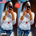 Fashion Women Loose Long Sleeve Lace Shirt Tops Blouse Ladies Pullover Tops Tees