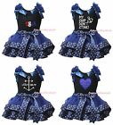 4th July Black Cotton Top Navy Blue Sailor Girl Trimmed Petal Skirt Outfit NB-8Y
