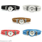 Wholesale Lots PU Leather Bracelets Fit Snaps Snap Buttons Mixed 21cm