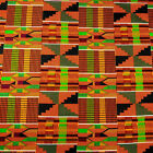 Stunning African Kente Print Cloth Wax Dyed Cotton Fabric Orange Green Black