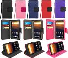 For ZTE MAX XL / N9560 Leather Wallet Flip Stand Case Cover w Card Holder &Strap