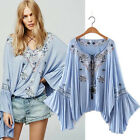 Women Vintage Embroidery Boho Hippie Tassel Bell Sleeve Loose Shirt Blouse Tops