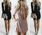 Fashion Womens Summer Long Sleeve Casual Blouse Loose Tops T Shirt Short Dress