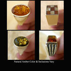 BALTIC INLAID or HONEY AMBER & STERLING SILVER HANDMADE MEN'S RING VARIOUS SIZES