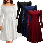 Women Vintage 1950s Full Lace Cocktail Evening Party Casual A-line Pleated Dress