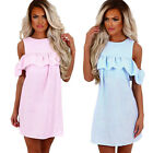 New Womens Off Shoulder Striped Ruffled Sundress Party Summer Casual Mini Dress