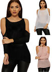 Womens Crochet Knit Jumper Top Ladies Cut Out Cold Shoulder Long Sleeve New 8-14