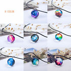 Florid Lucky Crystal Ball Star Glass Galaxy Pattern Pendant Necklace Jewelry