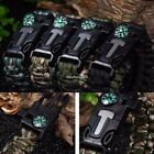 New Rope Paracord Survival Bracelet Outdoor Flint Fire Starter Compass WristN4U8