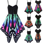 Women Summer Sleeveless Butterfly Printing Asymmetry Straps Casual Mini Dress UK