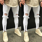 New Mens White Jeans Stretch Destroyed Ripped Ankle Zipper Skinny Jeans Trousers