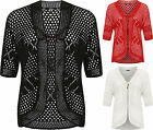 Plus Womens Crochet Knitted Open Tied Cardigan Ladies Short Sleeve Shrug Top New