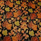 Leaves, Metallic Gold on Black, Cotton Fabric by South Seas Per 1/2 Yd or Per Yd