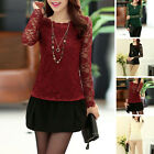 New Fashion Women Beach Casual Round Neck Long Sleeve Solid Color Tops