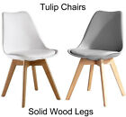 GREY OR WHITE JAMIE TULIP PLASTIC PADDED DINING CHAIR SOLID WOOD LEGS NOT EIFFEL