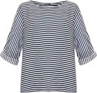 Plus Womens Striped Print Baggy Short Sleeve Top Ladies New Linen Oversized