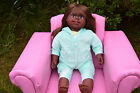 "LARGE GIANT 23"" BLACK AFRO AALIYAH GIRLS BABY DOLL 58CM VINYL & SOFT BODIED"