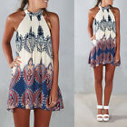 US Summer Womens Dress Chiffon Sleeveless Flower Party Loose Casual mini Dress
