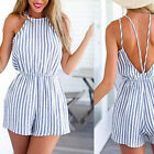 Elegant Summer Ladies Fashion Halter Straps With Striped Pants Blue White