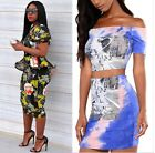 Women Two Piece Bodycon Dress Floral Printed Party Evening Dress Top Skirt Set