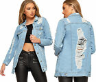 Womens Distressed Back Baggy Denim Jacket Ladies Long Sleeve Ripped Button New