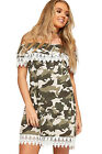 Womens Camouflage Print Off Shoulder Lace Trim Dress Ladies Bardot Layered Boho