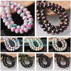 New Black/White Colorized Patterns 8mm Rondelle Faceted Glass Loose Spacer Beads