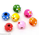 Wholesale Lots Gift Mixed Multicolor Dot Round Wood Beads 10x9mm