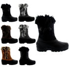 Ladies Toggle Bean Snow Rain Faux Fur Yard Waterproof Winter Calf Boot All Sizes