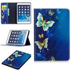Blue Beautiful butterfly Wallet card holder Leather Case skin Cover For Tablet