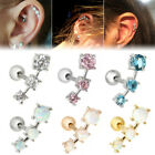 "16G 1/4"" CZ Steel Barbell Ear Tragus Cartilage Helix Stud Earrings Piercing"