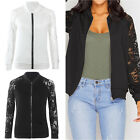 Womens Fashion Long Sleeve Basic Coat Black/ White Short Lace Patchwork Jackets