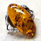 GORGEOUS NATURAL BALTIC AMBER 925 STERLING SILVER RING SIZE 5-10