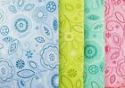 """Assorted Pastel Colors & Sizes """"Embroidered Stitchwork"""" Floral Vinyl Tablecloth"""