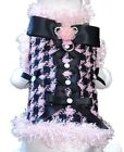 Cha Cha Couture Pink Black All About Business Dog Harness Coat (XS or Large)