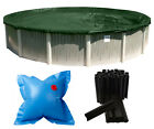 Above Ground Round Supreme Swimming Pool Winter Covers w/ Clips & Air Pillow