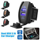 3.1A Dual USB Socket Charger Power Adapter Waterproof LED 12V 24V For Car Motor