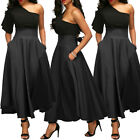 New Women Vintage Elegant High Waist Asymmetric Hem Big Swing Pockets Long Skirt