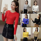 Women Long Sleeve Round Neck Casual Slim Tops Knit Sweater Solid T-shirts Blouse